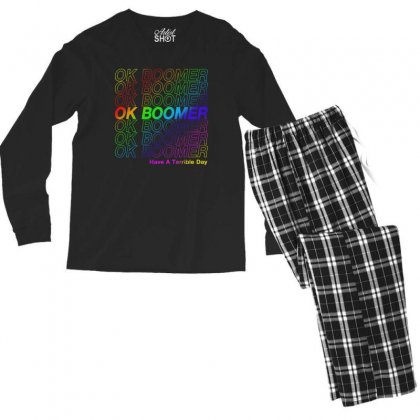 Ok Boomer   Rainbow Style Men's Long Sleeve Pajama Set Designed By Meganphoebe