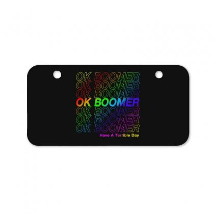 Ok Boomer   Rainbow Style Bicycle License Plate Designed By Meganphoebe