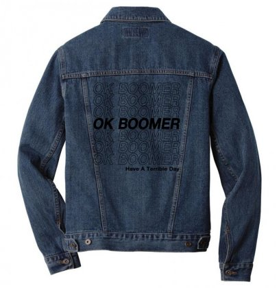 Ok Boomer   Black Style Men Denim Jacket Designed By Meganphoebe