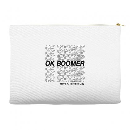 Ok Boomer   Black Style Accessory Pouches Designed By Meganphoebe