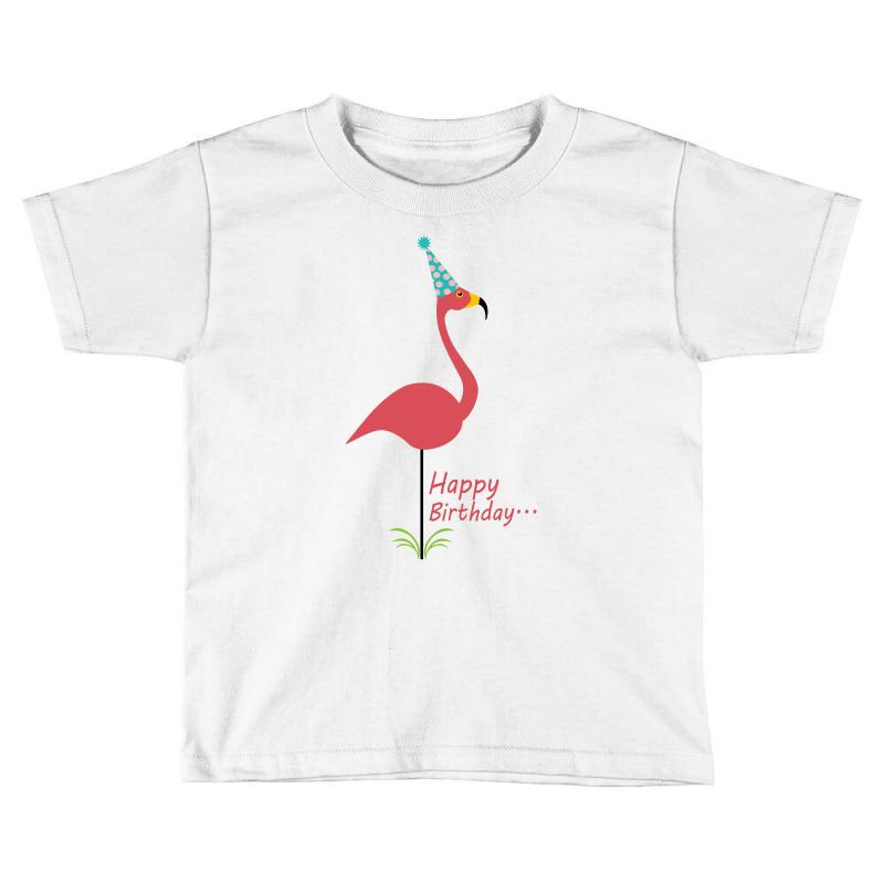 Custom Pink Lawn Flamingo Happy Birthday To Classy Person Toddler T Shirt By Nurmasit1
