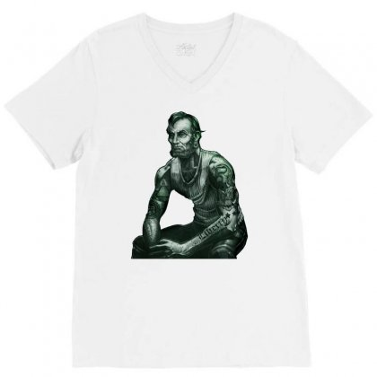 President Lincoln Five Dollar Bill Muscle Jacked Gym V-neck Tee Designed By Nurmasit1