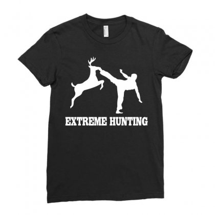 Extreme Hunting Deer Karate Kick Ladies Fitted T-shirt Designed By Mdk Art