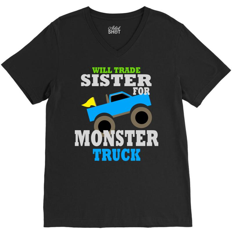 d5fa4773 Custom Monster Truck Shirt For Boys Toddlers V-neck Tee By ...