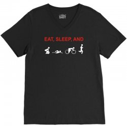 eat, sleep & train triathlon sports, gym, athletic V-Neck Tee | Artistshot