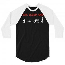eat, sleep & train triathlon sports, gym, athletic 3/4 Sleeve Shirt | Artistshot