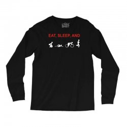 eat, sleep & train triathlon sports, gym, athletic Long Sleeve Shirts | Artistshot