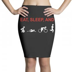 eat, sleep & train triathlon sports, gym, athletic Pencil Skirts | Artistshot
