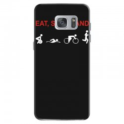 eat, sleep & train triathlon sports, gym, athletic Samsung Galaxy S7 Case | Artistshot