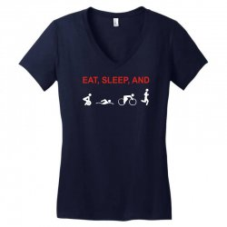 eat, sleep & train triathlon sports, gym, athletic Women's V-Neck T-Shirt | Artistshot