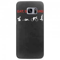 eat, sleep & train triathlon sports, gym, athletic Samsung Galaxy S7 Edge Case | Artistshot