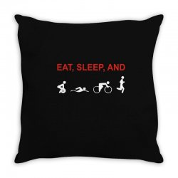 eat, sleep & train triathlon sports, gym, athletic Throw Pillow | Artistshot