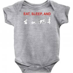 eat, sleep & train triathlon sports, gym, athletic Baby Bodysuit | Artistshot