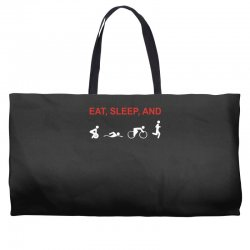 eat, sleep & train triathlon sports, gym, athletic Weekender Totes | Artistshot