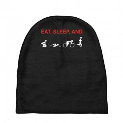 eat, sleep & train triathlon sports, gym, athletic Baby Beanies | Artistshot