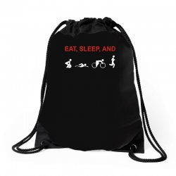eat, sleep & train triathlon sports, gym, athletic Drawstring Bags | Artistshot