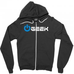 geek' (power on button) Zipper Hoodie | Artistshot