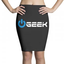 geek' (power on button) Pencil Skirts | Artistshot