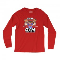 funny gym sloth the goonies fitness t shirt vectorized Long Sleeve Shirts | Artistshot