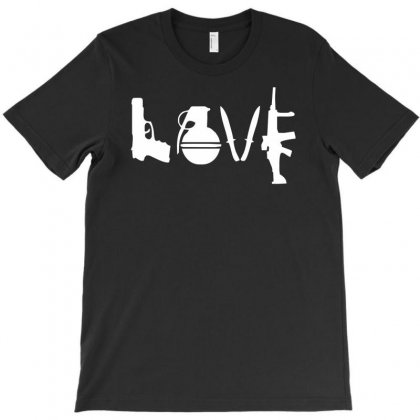 Love  Funny Weapons Retro War Urban Art Guns Knife Cool Peace T-shirt Designed By Hezz Art