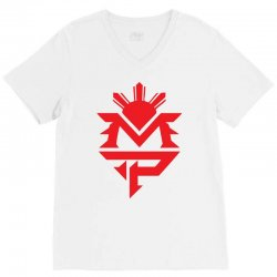 manny pacquiao red mp logo boxer sports V-Neck Tee | Artistshot