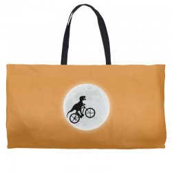 Dinosaur Riding A Bike To The Moon Weekender Totes | Artistshot