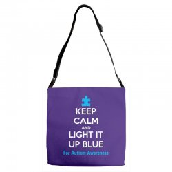 Keep Calm And Light It Up Blue For Autism Awareness Adjustable Strap Totes | Artistshot