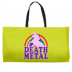 funny death metal unicorn rainbow Weekender Totes | Artistshot