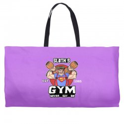funny gym sloth the goonies fitness t shirt vectorized Weekender Totes | Artistshot