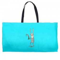 funny rabbit bunny holding a carrot Weekender Totes | Artistshot