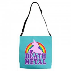 funny death metal unicorn rainbow Adjustable Strap Totes | Artistshot