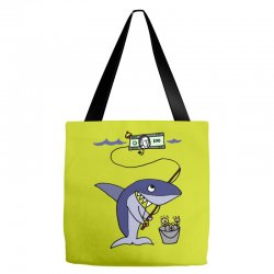 funny shark fishing for humans Tote Bags | Artistshot
