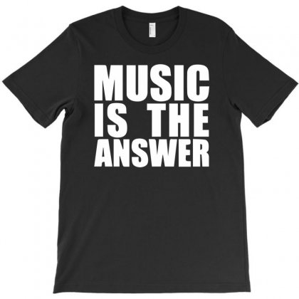 Music Is The Answer Printed T-shirt Designed By Hezz Art