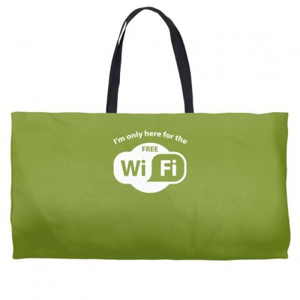 Here For The Free Wifi Weekender Totes Designed By Gematees