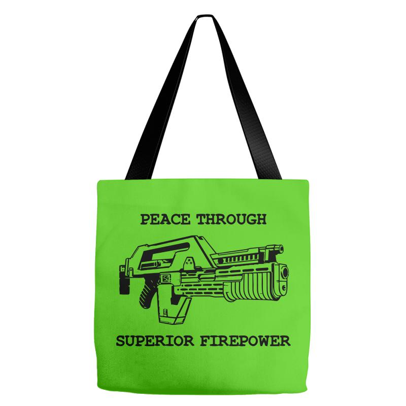a9eac25d8 Custom Peace Through Superior Firepower Tote Bags By Deomatis9888 ...