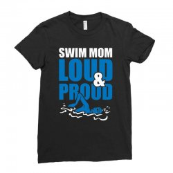 swim mom loud and proud sports athlete athletic Ladies Fitted T-Shirt | Artistshot