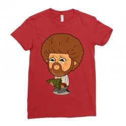 Painter Bob Ross Unhappy Ladies Fitted T-Shirt | Artistshot