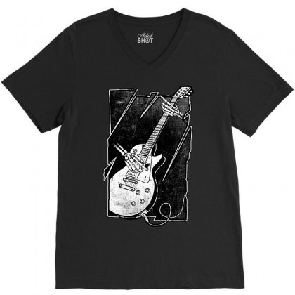 Guitarist V-neck Tee Designed By Quilimo