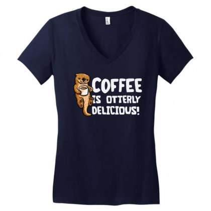 Otter Coffee Women's V-neck T-shirt Designed By Mir Art