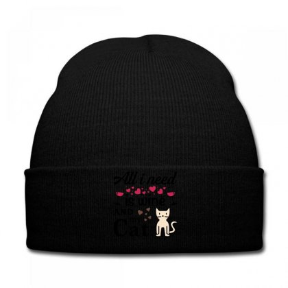 All I Need Is Wine And My Cat Knit Cap Designed By Tshiart