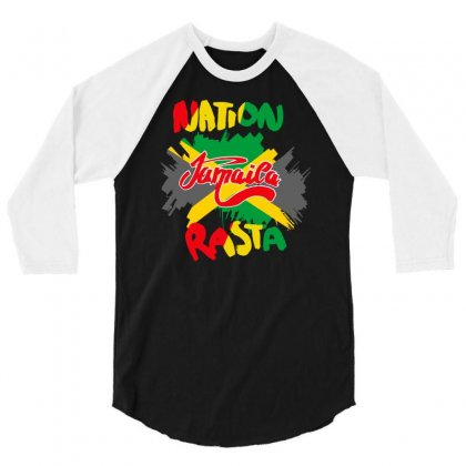 Rasta Nation, The Reggae And Dancehall 3/4 Sleeve Shirt Designed By Aheupote
