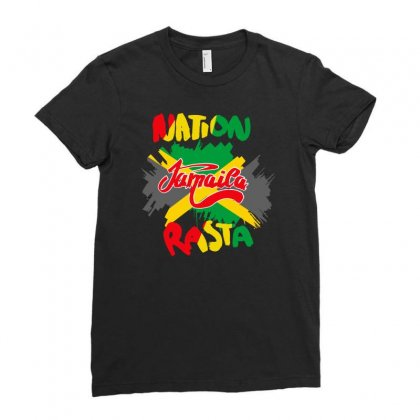Rasta Nation, The Reggae And Dancehall Ladies Fitted T-shirt Designed By Aheupote