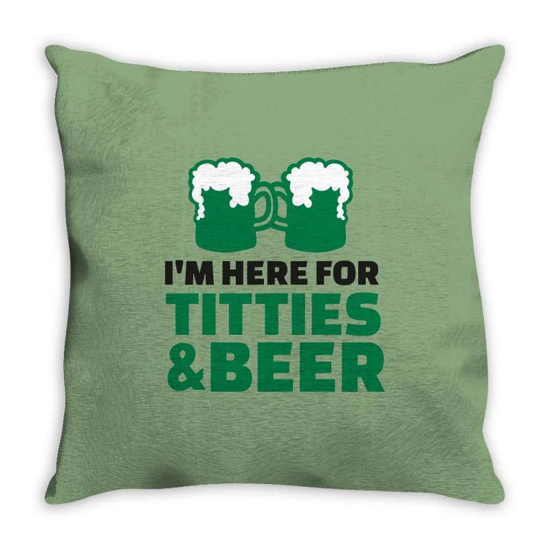 St. Patrick's Day Titties And Beer Throw Pillow | Artistshot