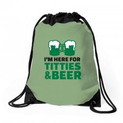 st. patrick's day titties and beer Drawstring Bags | Artistshot
