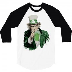 st patricks day  uncle sam 3/4 Sleeve Shirt | Artistshot