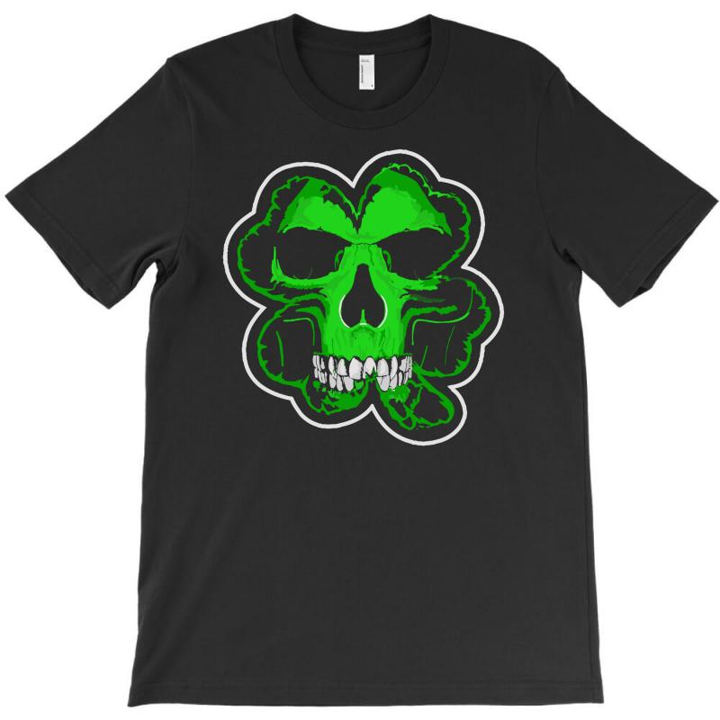 Celtic Green Clover Skull Patch Irish Biker Patches T Shirt