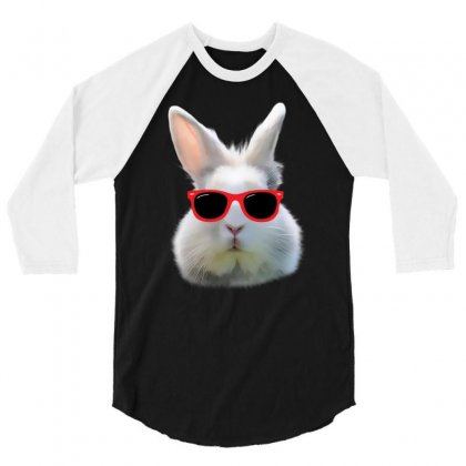 Easter Bunny Face Too Hip To Hop 3/4 Sleeve Shirt Designed By Love Shiga
