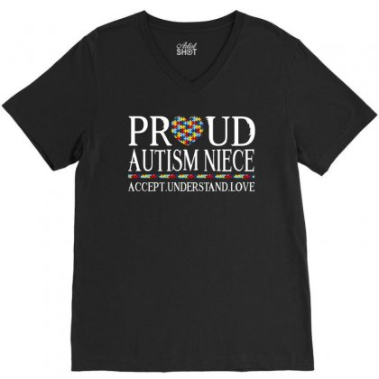 Proud Autism Niece V-neck Tee Designed By Dang Minh Hai