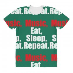 Music Eat Sleep Repeat All Over Women's T-shirt | Artistshot