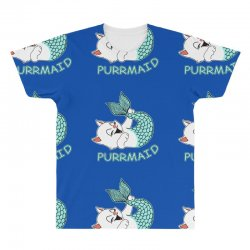 funny purr maid cat mermaid All Over Men's T-shirt | Artistshot
